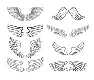 Wings set, vector illustrations royalty free illustration