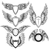 Wings And Shield Heraldic Elements Set Royalty Free Stock Photo
