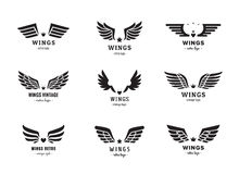 Wings silhouette logo vector set. Vintage design. Part one. Stock Photography