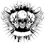 Wings skull_var 13. Vector illustration three skull and wings on grunge background with patterns Stock Image