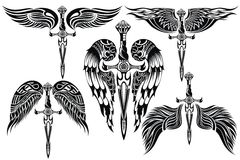 Wings and Sword big set Stock Image