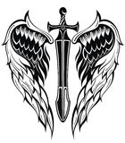 Wings and Sword. Black and white wings and sword Stock Photography
