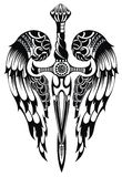 Wings and Sword. Black and white wings and sword in tattoo style Royalty Free Stock Image