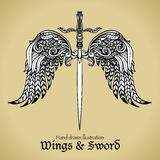Wings And Sword. Retro sword with gothic ornamental wings royal emblem sketch vector illustration Stock Image