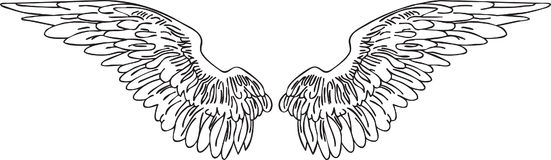 Wings tatoo. Hand drawn vector wings tattoo design Stock Images