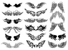 Wings tattoo vector set Royalty Free Stock Image