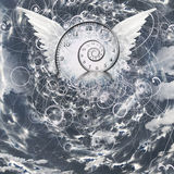 Wings and time spiral stock illustration