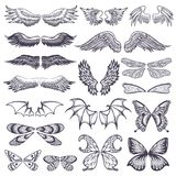 Wings vector flying winged angel with wing-case of bird and butterfly with wingspan illustration black wing-beat tattoo. Silhouette set isolated on white Stock Photography