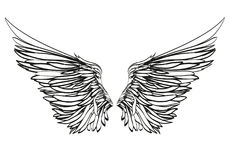 Wings. Vector illustration on black background. Black and white. Style Royalty Free Stock Photos