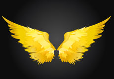 Wings. Vector illustration on black background. Golden color. Wings. Vector illustration on black background. Golden metal stock illustration