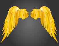 Wings. Vector illustration on dark background. Golden metal.  Stock Photo