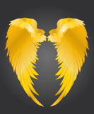 Wings. Vector illustration on dark background. Golden metal.  Royalty Free Stock Image