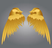 Wings. Vector illustration on grey background. Golden metal.  royalty free illustration