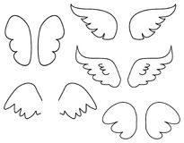 Wings vector illustration set with angel or bird wing icon isolated on white background. Wings collection. Vector illustration set with angel or bird wing icon Royalty Free Stock Images