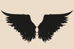 Wings. Vector illustration. Silhouette. Black and white style Royalty Free Stock Image