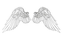 Wings. Vector illustration on white background. Black and white. Style Stock Images