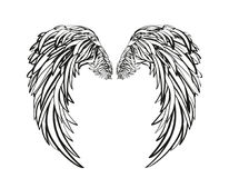 Wings. Vector illustration on white background. Black and white. Style Stock Photography