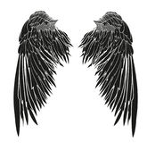 Wings. Vector illustration on white background. Black and white. Style Royalty Free Stock Images