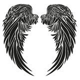 Wings. Vector illustration on white background. Black and white. Style Stock Photos