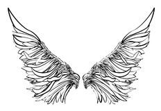 Wings. Vector illustration on white background. Black and white style Royalty Free Stock Image