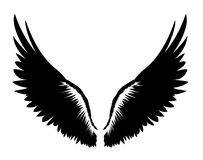 Wings. Vector illustration on white background. Black and white Royalty Free Stock Images