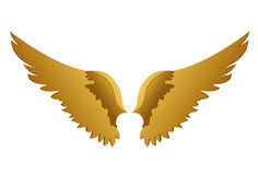 Wings. Vector illustration on white background. Golden metal.  Stock Photography