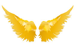 Wings. Vector illustration on white background. Golden metal.  Royalty Free Stock Photo