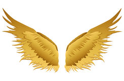 Wings. Vector illustration on white background. Golden metal.  Royalty Free Stock Photos
