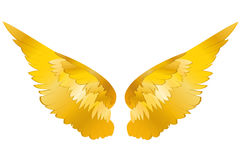 Wings. Vector illustration on white background. Golden metal.  royalty free illustration