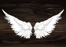 Wings. Vector illustration on wooden background. Black and white. Style Royalty Free Stock Photography