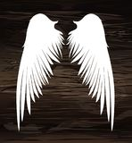 Wings. Vector illustration on wooden background. Black and white. Style Stock Photos