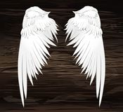 Wings. Vector illustration on wooden background. Black and white. Style Royalty Free Stock Images