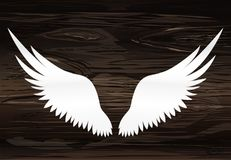 Wings. Vector illustration on wooden background. Black and white. Style Royalty Free Stock Image