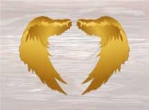 Wings. Vector illustration on wooden background. Golden color.  vector illustration