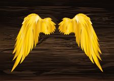 Wings. Vector illustration on wooden background. Golden color. Bronze  metal Royalty Free Stock Photo