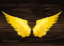 Wings. Vector illustration on wooden background. Golden color.  stock illustration