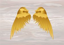 Wings. Vector illustration on wooden background. Golden color.  royalty free illustration