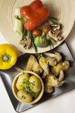 Wings and vegetable vertical Royalty Free Stock Photography