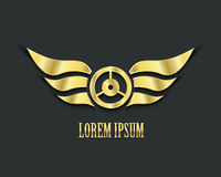 Wings with wheel for your design. Golden symbol Royalty Free Stock Photo