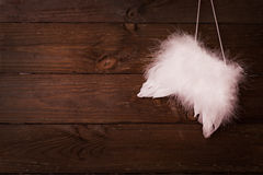 Wings on wood. With copy space Stock Photo