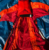 Wingsuit attached to BASE jumping rig royalty free stock photos