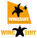 Wingsuit base jumping logo Royalty Free Stock Image