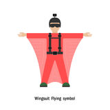 Wingsuit Flying.Wingsuit flight.Healthcare and sport logo icon Royalty Free Stock Photography