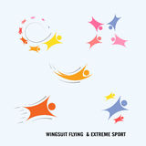 Wingsuit Flying.Wingsuit flight.Healthcare and sport logo icon Royalty Free Stock Photos