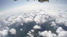 Wingsuit skydiving from 12000 feet. Height stock video footage