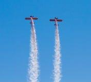 Wingwalkers auf Doppeldecker Lizenzfreie Stockfotografie