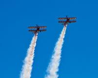 Wingwalkers auf Doppeldecker Lizenzfreie Stockfotos