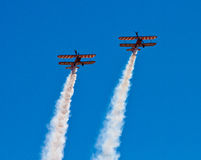 Wingwalkers on biplane Royalty Free Stock Photos
