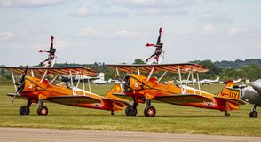 Wingwalkers warming up before their airshow routine. Preparation routine prior to a wingwalking display at Duxford airshow stock photo