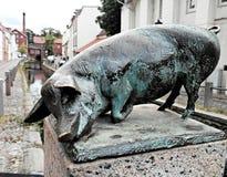 Świni statua na ulicach Wismar Zdjęcia Royalty Free